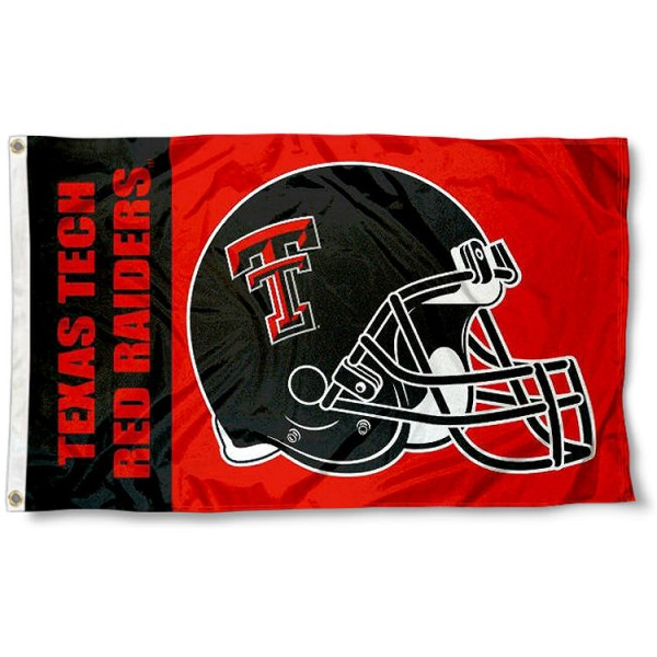Texas Tech Football Flag measures 3'x5', is made of 100% poly, has quadruple stitched sewing, two metal grommets, and has double sided Texas Tech logos. Our Texas Tech Football Flag is officially licensed by the selected university and the NCAA.
