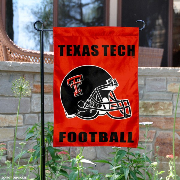 Texas Tech Football Helmet Garden Banner is 13x18 inches in size, is made of 2-layer polyester, screen printed Texas Tech University athletic logos and lettering. Available with Same Day Express Shipping, Our Texas Tech Football Helmet Garden Banner is officially licensed and approved by Texas Tech University and the NCAA.