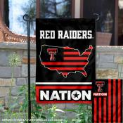 Texas Tech Garden Flag with USA Country Stars and Stripes