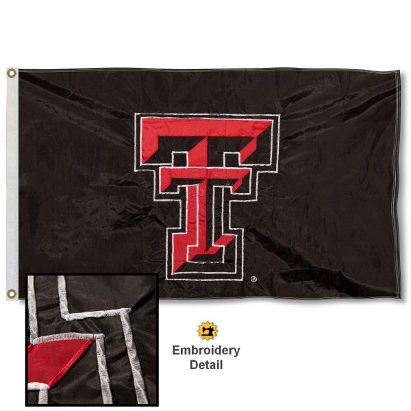 Texas Tech Nylon Embroidered Flag measures 3'x5', is made of 100% nylon, has quadruple flyends, two metal grommets, and has double sided appliqued and embroidered University logos. These Texas Tech 3x5 Flags are officially licensed by the selected university and the NCAA.