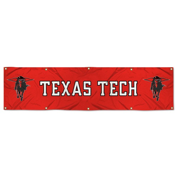 Texas Tech Red Raiders 8 Foot Large Banner measures 2x8 feet and displays Texas Tech Red Raiders logos. Our Texas Tech Red Raiders 8 Foot Large Banner is made of thick polyester and ten grommets around the perimeter for hanging securely. These banners for Texas Tech Red Raiders are officially licensed by the NCAA.