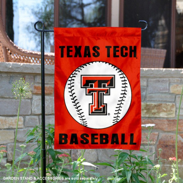 Texas Tech Red Raiders Baseball Team Garden Flag is 13x18 inches in size, is made of 2-layer polyester, screen printed Texas Tech University Baseball athletic logos and lettering. Available with Express Shipping, Our Texas Tech Red Raiders Baseball Team Garden Flag is officially licensed and approved by Texas Tech University Baseball and the NCAA.