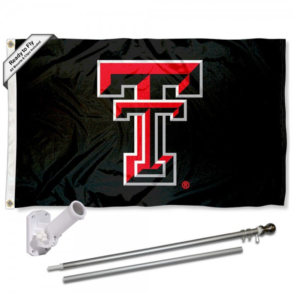 Our Texas Tech Red Raiders Black Flag Pole and Bracket Kit includes the flag as shown and the recommended flagpole and flag bracket. The flag is made of polyester, has quad-stitched flyends, and the NCAA Licensed team logos are double sided screen printed. The flagpole and bracket are made of rust proof aluminum and includes all hardware so this kit is ready to install and fly.