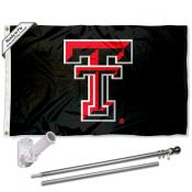 Texas Tech Red Raiders Black Flag Pole and Bracket Kit