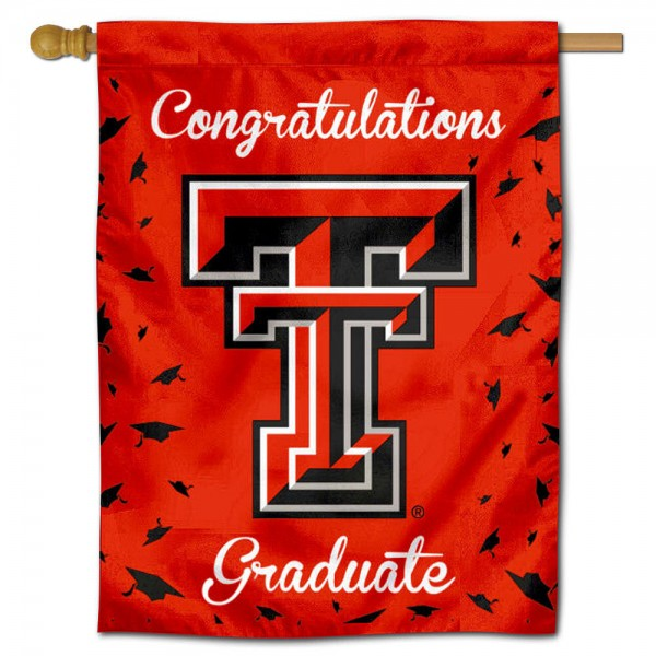 Texas Tech Red Raiders Congratulations Graduate Flag measures 30x40 inches, is made of poly, has a top hanging sleeve, and offers dye sublimated Texas Tech Red Raiders logos. This Decorative Texas Tech Red Raiders Congratulations Graduate House Flag is officially licensed by the NCAA.