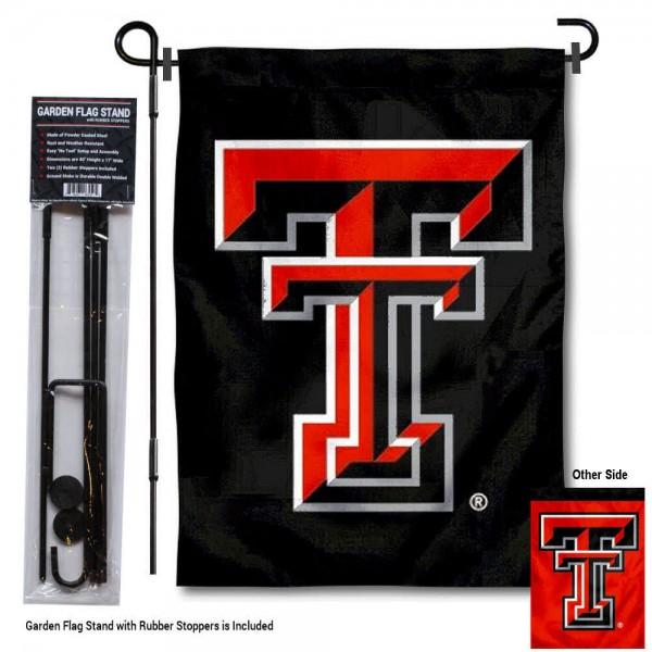 "Texas Tech Red Raiders Dual Logo Garden Flag and Pole Stand kit includes our 13""x18"" garden banner which is made of 2 ply poly with liner and has screen printed licensed logos. Also, a 40""x17"" inch garden flag stand is included so your Texas Tech Red Raiders Dual Logo Garden Flag and Pole Stand is ready to be displayed with no tools needed for setup. Fast Overnight Shipping is offered and the flag is Officially Licensed and Approved by the selected team."