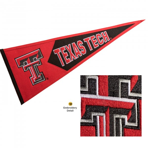 Texas Tech Red Raiders Genuine Wool Pennant consists of our full size 13x32 inch Winning Streak Sports wool college pennant. The logos, lettering and insignia is quality embroidered and appliqued, feature a alternate logo color header, and has sewn wool perimeter. This Texas Tech Red Raiders College Pennant Pennant is Officially Licensed and University Approved with Overnight Next Day Shipping.