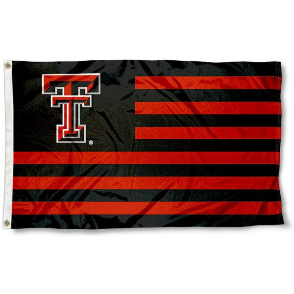 Texas Tech Red Raiders Striped Flag measures 3'x5', is made of polyester, offers four stitched flyends for durability, has two metal grommets, and is viewable from both sides with a reverse image on the opposite side. Our Texas Tech Red Raiders Striped Flag is officially licensed by the selected school university and the NCAA.