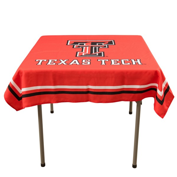Texas Tech Red Raiders Table Cloth measures 48 x 48 inches, is made of 100% Polyester, seamless one-piece construction, and is perfect for any tailgating table, card table, or wedding table overlay. Each includes Officially Licensed Logos and Insignias.