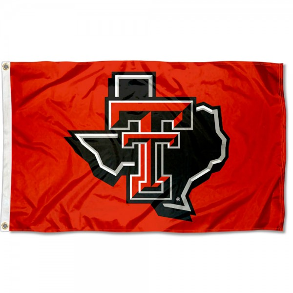Texas Tech Red Raiders TX State Flag measures 3x5 feet, is made of 100% polyester, offers quadruple stitched flyends, has two metal grommets, and offers screen printed NCAA team logos and insignias. Our Texas Tech Red Raiders TX State Flag is officially licensed by the selected university and NCAA.
