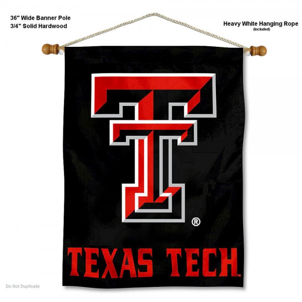 """Texas Tech Red Raiders Wall Banner is constructed of polyester material, measures a large 30""""x40"""", offers screen printed athletic logos, and includes a sturdy 3/4"""" diameter and 36"""" wide banner pole and hanging cord. Our Texas Tech Red Raiders Wall Banner is Officially Licensed by the selected college and NCAA."""