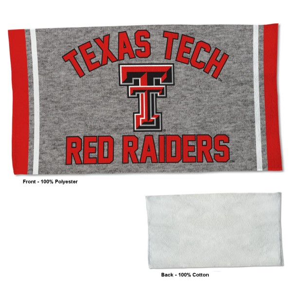 Texas Tech Red Raiders Workout Exercise Towel measures 22x42 inches, is made of 100% Polyester on the front and 100% Cotton on the back, has double stitched sewing perimeter, and Graphics and Logos, as shown. Our Texas Tech Red Raiders Workout Exercise Towel is officially licensed by the selected university and the NCAA. Also, machine washable and dryer safe.