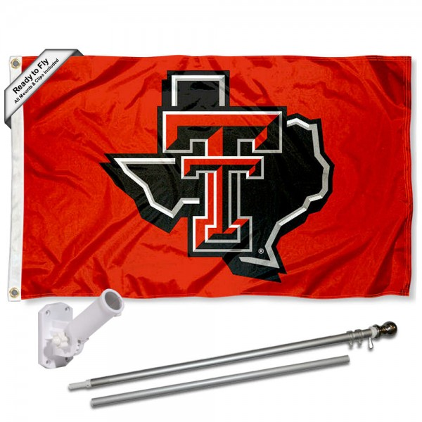 Our Texas Tech State of TX Flag Pole and Bracket Kit includes the flag as shown and the recommended flagpole and flag bracket. The flag is made of polyester, has quad-stitched flyends, and the NCAA Licensed team logos are double sided screen printed. The flagpole and bracket are made of rust proof aluminum and includes all hardware so this kit is ready to install and fly.