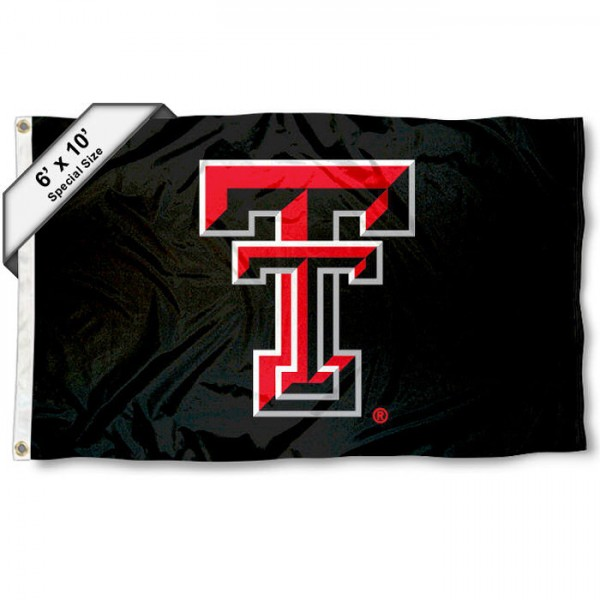Texas Tech University 6'x10' Flag measures 6x10 feet, is made of thick polyester, has quadruple-stitched fly ends, and Texas Tech University logos are screen printed into the Texas Tech University 6'x10' Flag. This Texas Tech University 6'x10' Flag is officially licensed by the School and NCAA.