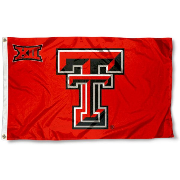 Texas Tech University Big 12 Flag measures 3'x5', is made of 100% poly, has quadruple stitched sewing, two metal grommets, and has double sided Team University logos. Our Texas Tech University Big 12 Flag is officially licensed by the selected university and the NCAA.