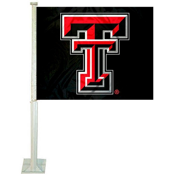 Texas Tech University Car Window Flag measures 12x15 inches, is constructed of sturdy 2 ply polyester, and has screen printed school logos which are readable and viewable correctly on both sides. Texas Tech University Car Window Flag is officially licensed by the NCAA and selected university.