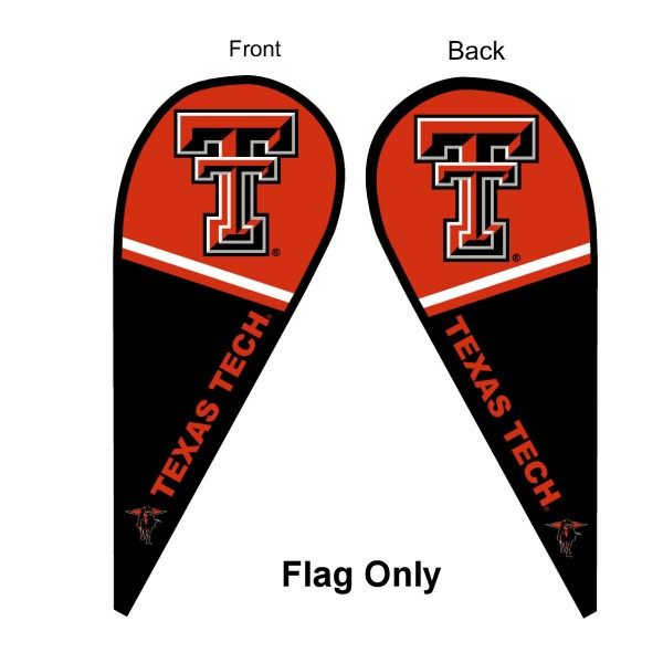 Texas Tech University Feather Flag is 9 feet by 3 feet and is a tall 10' when fully assembled. The feather flag is made of thick polyester and is readable and viewable on both sides. The screen printed Texas Tech Red Raiders double sided logos are NCAA Officially Licensed and is Team and University approved.
