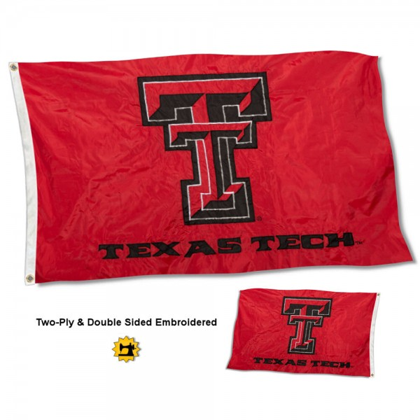 Texas Tech University Flag measures 3'x5' in size, is made of 2 layer embroidered 100% nylon, has quadruple stitched fly ends for durability, and is viewable and readable correctly on both sides. Our Texas Tech University Flag is officially licensed by the university, school, and the NCAA