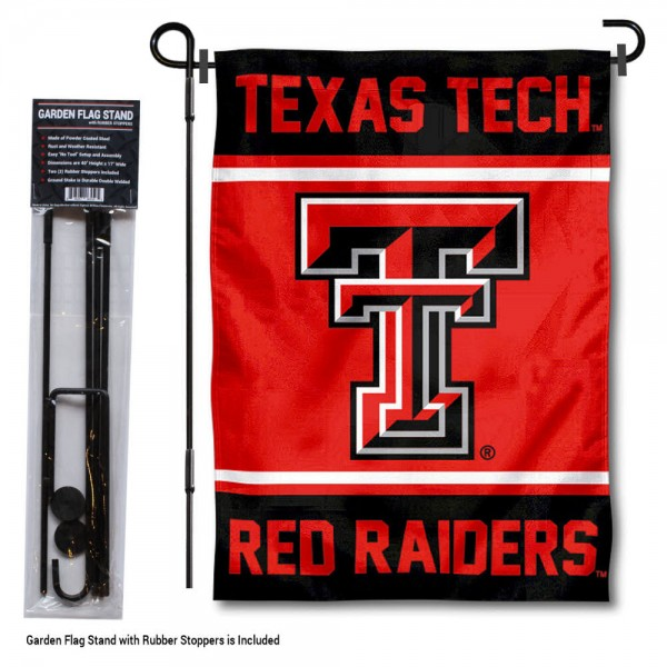 "Texas Tech University Garden Flag and Stand kit includes our 13""x18"" garden banner which is made of 2 ply poly with liner and has screen printed licensed logos. Also, a 40""x17"" inch garden flag stand is included so your Texas Tech University Garden Flag and Stand is ready to be displayed with no tools needed for setup. Fast Overnight Shipping is offered and the flag is Officially Licensed and Approved by the selected team."