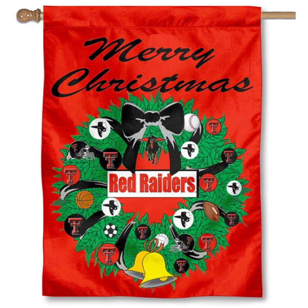 Texas Tech University Holiday Flag is a decorative house flag, 30x40 inches, made of 100% polyester, Holiday NCAA team insignias, and has a top pole sleeve to hang vertically. Our Texas Tech University Holiday Flag is officially licensed by the selected university and the NCAA.