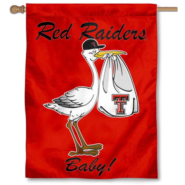 Texas Tech University New Baby Flag measures 30x40 inches, is made of poly, has a top hanging sleeve, and offers dye sublimated Red Raiders logos. This Decorative Texas Tech University New Baby House Flag is officially licensed by the NCAA.
