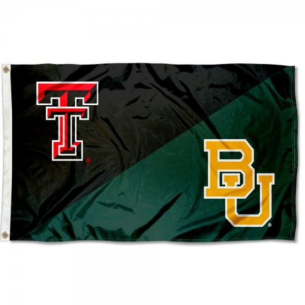 Texas Tech vs. Baylor House Divided 3x5 Flag sizes at 3x5 feet, is made of 100% polyester, has quadruple-stitched fly ends, and the university logos are screen printed into the Texas Tech vs. Baylor House Divided 3x5 Flag. The Texas Tech vs. Baylor House Divided 3x5 Flag is approved by the NCAA and the selected universities.
