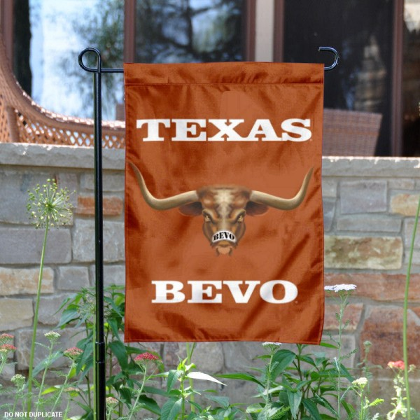 Texas UT Longhorns Bevo Garden Flag is 13x18 inches in size, is made of 2-layer polyester, screen printed university athletic logos and lettering. Available with Same Day Express Shipping, our Texas UT Longhorns Bevo Garden Flag is officially licensed and approved by the university and the NCAA.