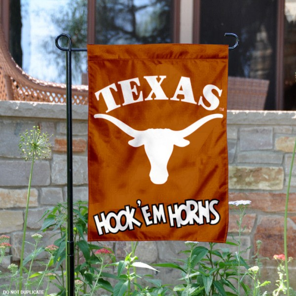 Texas UT Longhorns Hook'em Horns Garden Flag is 13x18 inches in size, is made of 2-layer polyester, screen printed university athletic logos and lettering, and is readable and viewable correctly on both sides. Available same day shipping, our Texas UT Longhorns Hook'em Horns Garden Flag is officially licensed and approved by the university and the NCAA.