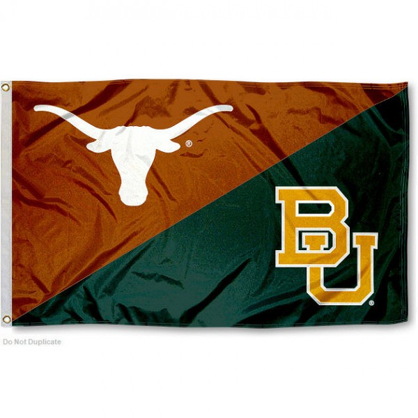 Texas vs. Baylor House Divided 3x5 Flag sizes at 3x5 feet, is made of 100% polyester, has quadruple-stitched fly ends, and the university logos are screen printed into the Texas vs. Baylor House Divided 3x5 Flag. The Texas vs. Baylor House Divided 3x5 Flag is approved by the NCAA and the selected universities.