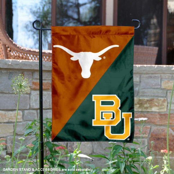 Texas vs. Baylor House Divided Garden Flag is 13x18 inches in size, is made of polyester, is double-sided, and offers screen printed university school logos. The Texas vs. Baylor House Divided Garden Flag is approved by the NCAA and the selected university.