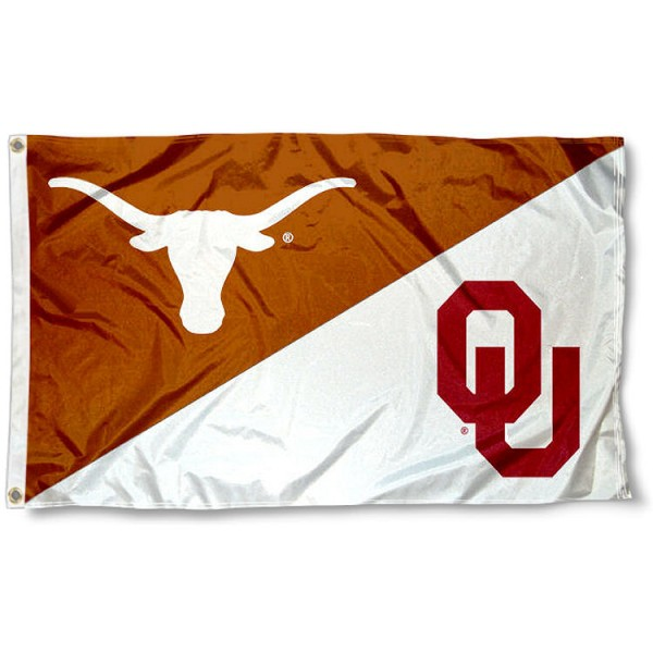 Texas vs. Oklahoma House Divided 3x5 Flag sizes at 3x5 feet, is made of 100% polyester, has quadruple-stitched fly ends, and the university logos are screen printed into the Texas vs. Oklahoma House Divided 3x5 Flag. The Texas vs. Oklahoma House Divided 3x5 Flag is approved by the NCAA and the selected universities.