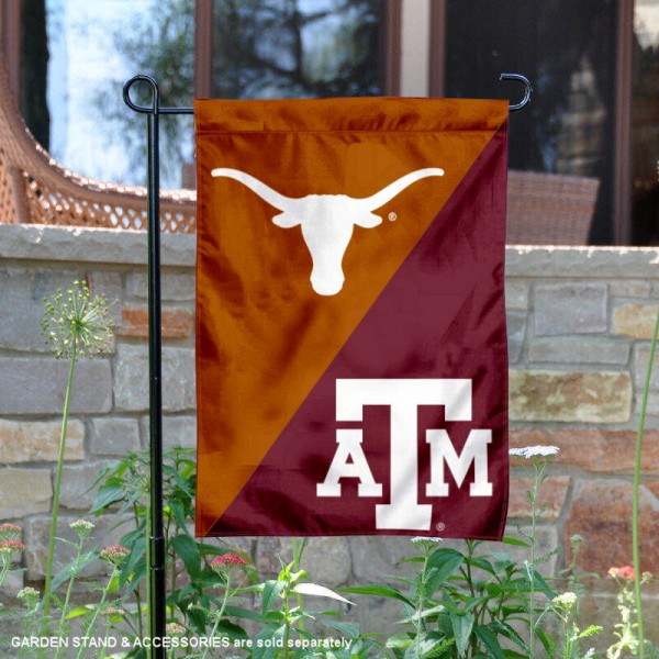 Texas vs. Texas A&M House Divided Garden Flag is 13x18 inches in size, is made of polyester, is double-sided, and offers screen printed university school logos. The Texas vs. Texas A&M House Divided Garden Flag is approved by the NCAA and the selected university.