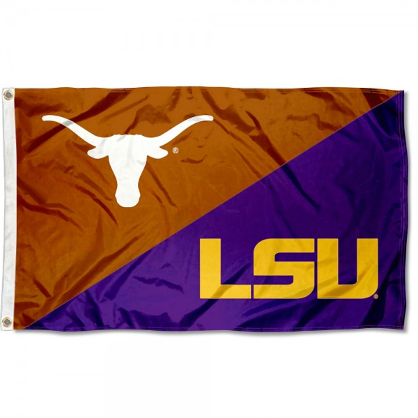 Texas vs LSU Tigers House Divided 3x5 Flag sizes at 3x5 feet, is made of 100% polyester, has quadruple-stitched fly ends, and the university logos are screen printed into the Texas vs LSU Tigers House Divided 3x5 Flag. The Texas vs LSU Tigers House Divided 3x5 Flag is approved by the NCAA and the selected universities.