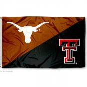 Texas vs Texas Tech House Divided 3x5 Flag