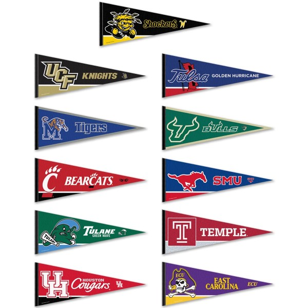 The American Conference Pennants consists of all American Athletic Conference school pennants and measure 12x30 inches. All 11 The American Conference teams are included and the The American Conference Pennants is officially licensed by the NCAA and selected conference schools.