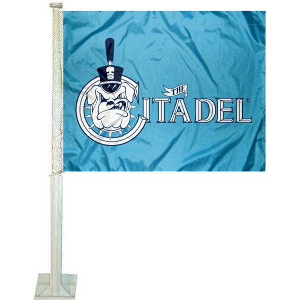 The Citadel Bulldogs Car Window Flag measures 12x15 inches, is constructed of sturdy 2 ply polyester, and has dye sublimated school logos which are readable and viewable correctly on both sides. The Citadel Bulldogs Car Window Flag is officially licensed by the NCAA and selected university.