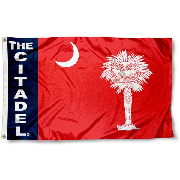 The Citadel Bulldogs Flag measures 3'x5', is made of 100% poly, has quadruple stitched sewing, two metal grommets, and has double sided The Citadel logos. Our The Citadel Bulldogs Flag is officially licensed by the selected university and the NCAA