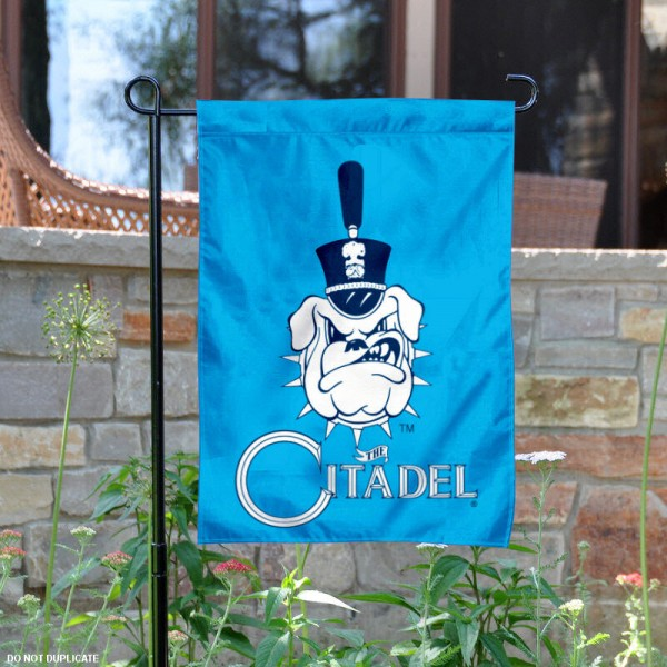 The Citadel Garden Flag is 13x18 inches in size, is made of 2-layer polyester, screen printed The Citadel athletic logos and lettering. Available with Same Day Express Shipping, Our The Citadel Garden Flag is officially licensed and approved by The Citadel and the NCAA.