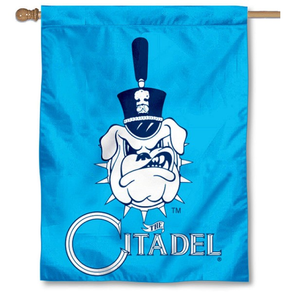 The Citadel House Flag is a vertical house flag which measures 30x40 inches, is made of 2 ply 100% polyester, offers dye sublimated NCAA team insignias, and has a top pole sleeve to hang vertically. Our The Citadel House Flag is officially licensed by the selected university and the NCAA