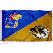 Tigers vs. Jayhawks House Divided 3x5 Flag