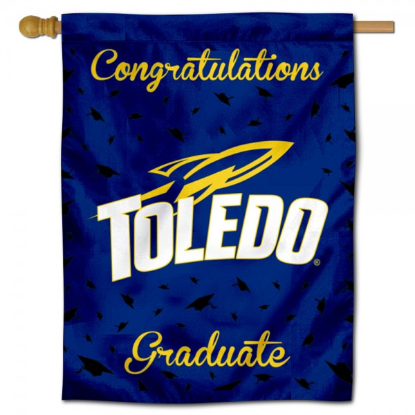 Toledo Rockets Congratulations Graduate Flag measures 30x40 inches, is made of poly, has a top hanging sleeve, and offers dye sublimated Toledo Rockets logos. This Decorative Toledo Rockets Congratulations Graduate House Flag is officially licensed by the NCAA.