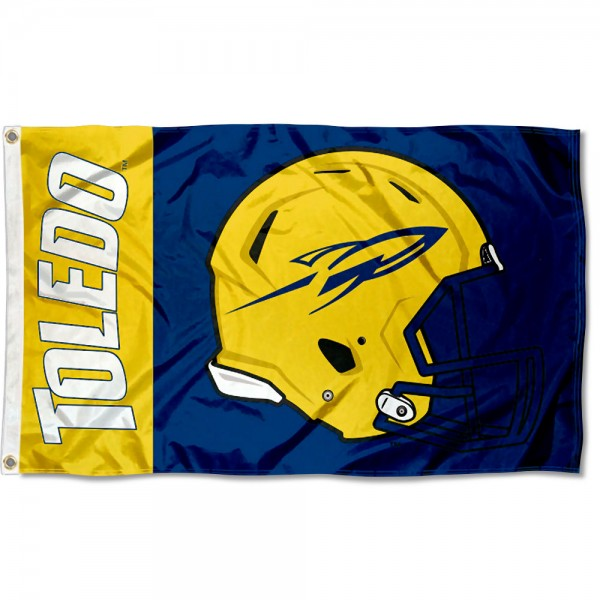 Toledo Rockets Football Helmet Flag measures 3x5 feet, is made of 100% polyester, offers quadruple stitched flyends, has two metal grommets, and offers screen printed NCAA team logos and insignias. Our Toledo Rockets Football Helmet Flag is officially licensed by the selected university and NCAA.