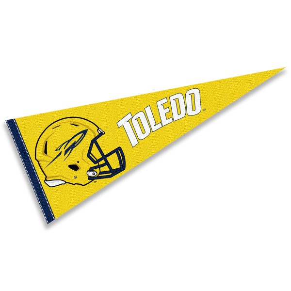 Toledo Rockets Helmet Pennant consists of our full size sports pennant which measures 12x30 inches, is constructed of felt, is single sided imprinted, and offers a pennant sleeve for insertion of a pennant stick, if desired. This Toledo Rockets Pennant Decorations is Officially Licensed by the selected university and the NCAA.