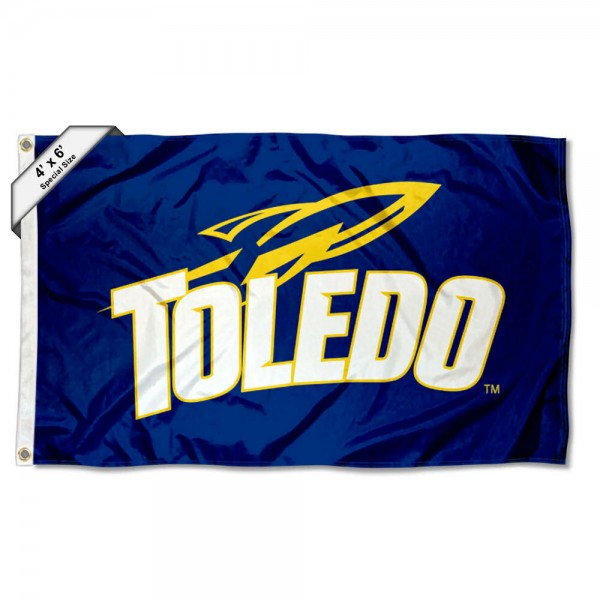 Toledo Rockets Large 4x6 Flag measures 4x6 feet, is made thick woven polyester, has quadruple stitched flyends, two metal grommets, and offers screen printed NCAA Toledo Rockets Large athletic logos and insignias. Our Toledo Rockets Large 4x6 Flag is officially licensed by Toledo Rockets and the NCAA.
