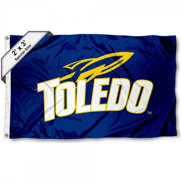 Toledo Rockets Small 2'x3' Flag measures 2x3 feet, is made of 100% polyester, offers quadruple stitched flyends, has two brass grommets, and offers printed Toledo Rockets logos, letters, and insignias. Our 2x3 foot flag is Officially Licensed by the selected university.