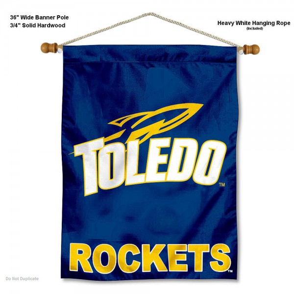 "Toledo Rockets Wall Banner is constructed of polyester material, measures a large 30""x40"", offers screen printed athletic logos, and includes a sturdy 3/4"" diameter and 36"" wide banner pole and hanging cord. Our Toledo Rockets Wall Banner is Officially Licensed by the selected college and NCAA."