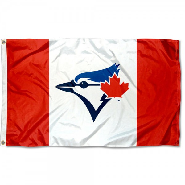 Our Toronto Blue Jays Canada Nation Logo Flag is double sided, made of poly, 3'x5', has two grommets, and four-stitched fly ends. These Toronto Blue Jays Canada Nation Logo Flags are Officially Licensed by the MLB.