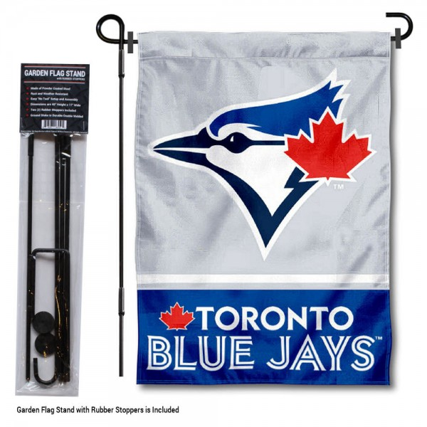 "Toronto Blue Jays Logo Garden Flag and Stand kit includes our 13""x18"" garden banner which is made of 2 ply poly with liner and has screen printed licensed logos. Also, a 40""x17"" inch garden flag stand is included so your Toronto Blue Jays Logo Garden Flag and Stand is ready to be displayed with no tools needed for setup. Fast Overnight Shipping is offered and the flag is Officially Licensed and Approved by the selected team."