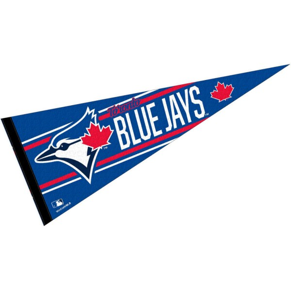 This Toronto Blue Jays Pennant measures 12x30 inches, is constructed of felt, and is single sided screen printed with the Toronto Blue Jays logo and insignia. Each Toronto Blue Jays Pennant is a MLB Genuine Merchandise product.