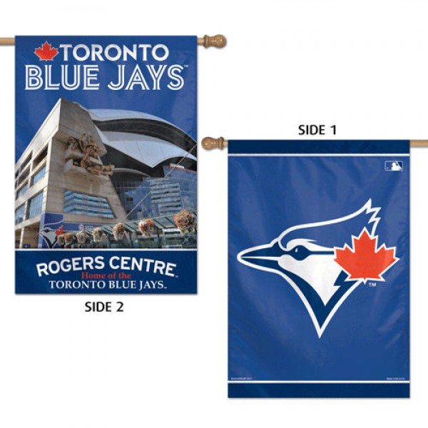 Toronto Blue Jays Two Sided House Banner is imprinted with two different Toronto Blue Jays logos and is made of 100% polyester. Our Banner Flags for Toronto Blue Jays measure 28x40 inches and hang vertically.
